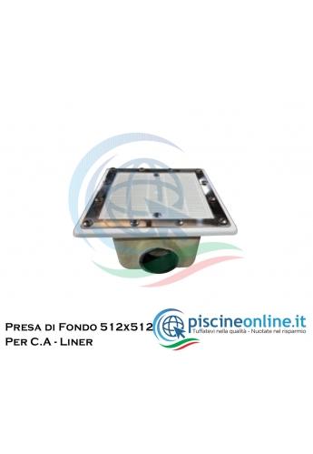 PRESA DI FONDO QUADRATA - 512 X 512 CM - IN VETRORESINA CON GRIGLIA IN ACCIAIO INOX AISI 316 - PER C.A. E LINER