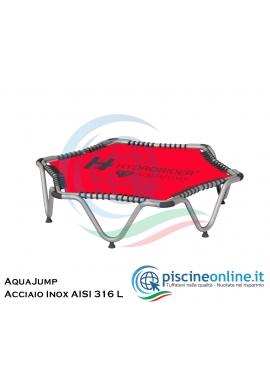 AQUAJUMP - TRAMPOLINO ACQUATICO PROFESSIONALE - COSTRUITO IN ACCIAIO INOX AISI 316 L - PER DIVERTIMENTO E ALLENAMENTO IN PISCINA