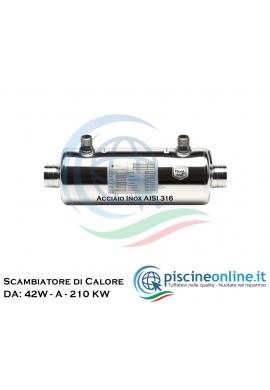 SCAMBIATORE DI CALORE IN ACCIAIO INOX AISI 316 COMPATIBILE CON SISTEMI DI RISCALDAMENTO SOLARI, CALDAIA, POMPE DI CALORE