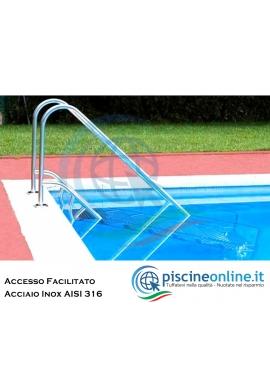 SCALETTA IN ACCIAIO INOX AISI 316 CON ACCESSO FACILITATO REGOLABILE IN DIVERSE ALTEZZE - ACCESSORI PISCINA ONLINE