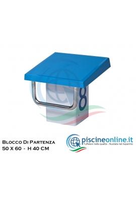BLOCCO DI PARTENZA STANDARD IN ACCIAIO INOX AISI 316 CON PIATTAFORMA IN PLASTICA ANTISCIVOLO - 50 X 60 H 40 CM