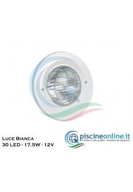 PROIETTORE FISSO IN ABS A LED PER LINER - VERSIONE - LUCE BIANCA 30 LED - 17.5W - 12V - CON INSERTI IN OTTONE