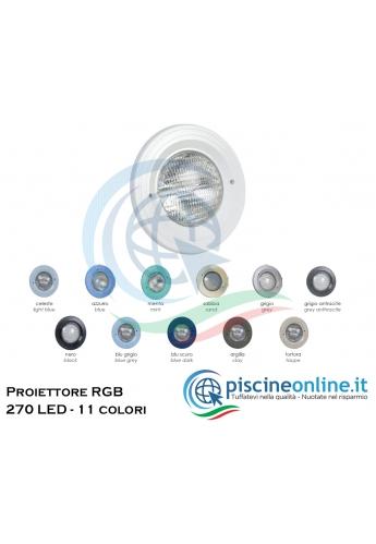 PROIETTORE ROTONDO FISSO IN ABS PER LINER - RGB 270 LED - 18.8 WATT - 12 V - CON TELECOMANDO E FISSAGGIO A VITE - 11 COLORAZIONI