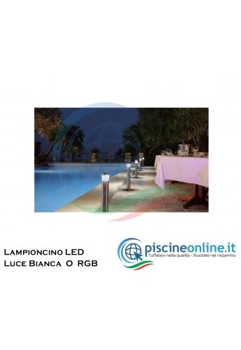 LAMPIONE IN ACCIAIO INOX AISI 316 CON LUCE LED - 2 VERSIONI LUCE RGB O LUCE BIANCA