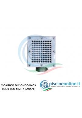 """SCARICO DI FONDO IN ACCIAIO INOX AISI 316 - 150X150 MM - PER LINER 2""""F - PORTATA 15MC/H"""
