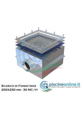 """SCARICO DI FONDO IN ACCIAIO INOX AISI 316 PER LINER - 250X250 MM Ø 2""""½ , PORTATA 30 MC/H"""