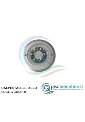 PROIETTORE IN ALLUMINIO DA INCASSARE - 9 SUPER LED - CARRABILE FINO A 3.5 TON. - 6 COLORI DI LUCE