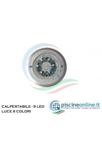 PROIETTORE FISSO IN ABS A LED PER LINER - VERSIONE - LUCE RGB 270 LED - 18W - 12V - CON TELECOMANDO E INSERTI IN OTTONE