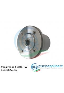 MINI PROIETTORE A 1 LED (1 W) 12V AC/DC - 6 COLORI DI LUCE