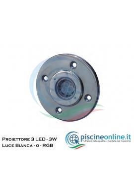 MINI PROIETTORE A 3 LED (3 W) 12V AC/DC - NELLE VERSIONI - LUCE BIANCA O RGB