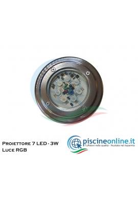 PROIETTORE A 7 SUPER LED RGB DA 3 W - 24 V - DC
