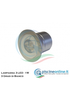 LAMPADINA A 3 LED - 1W - CON ANGOLO DA 15° - 3 GRADAZIONI DI BIANCO DA SCEGLIERE