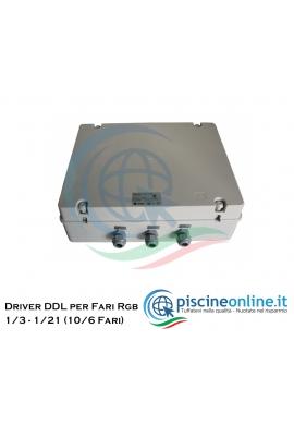 DRIVER DDL PER LUCI RGB IN PISCINA - 2 VERSIONI PER COLLEGAMENTO DA 6 A 10 PROIETTORI