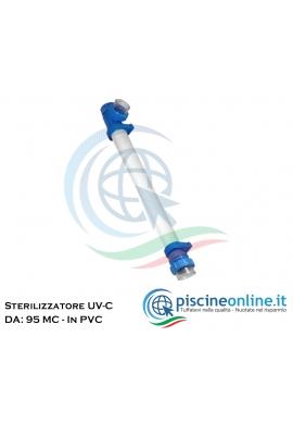 STERILIZZATORE UV-C IN ACCIAIO INOX 316L - PURIFICATORE D'ACQUA A LAMPADA UV-C - 2 VERSIONI - 95 / 130 MCI