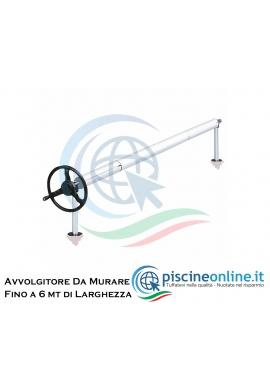AVVOLGITORE PER COPERTURA PISCINA IN ACCIAIO INOX 304 DA MURARE Ø 40 mm - 3 VERSIONI FINO A 6 MT DI LARGHEZZA