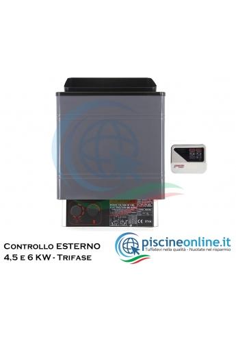 STUFA ELETTRICA PER SAUNA FINLANDESE CON CONTROLLO INTEGRATO - 3 VERSIONI MONO/TRIFASE - PIETRE INCLUSE
