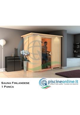 SAUNA FINLANDESE IN ABETE ROSSO DEL NORD CON PANNELLI DI SPESSORE 68 MM - IDEALE PER IMPIANTO SAUNA A CASA - 2 PERSONE
