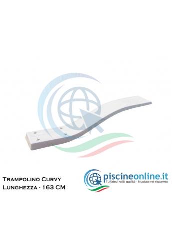 TAVOLA TRAMPOLINO IN VETRORESINA MT 1.63 MODELLO CURVY COLORE BIANCO - COMPRESO ANCORAGGIO ASSE TRAMPOLINO
