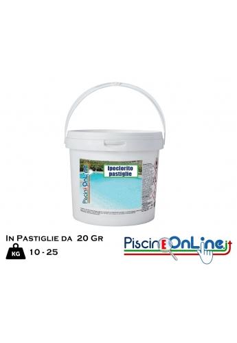IPOCLORITO DI CALCIO PASTIGLIE DA 20 GR - CONFEZIONE DA 10-25 KG - PRODOTTI PULIZIA PISCINA ONLINE