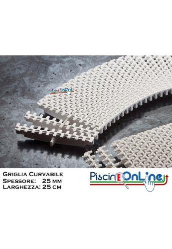 GRIGLIA CURVABILE  Spessore 25 mm - Larghezza 25 cm - A NORMA   UNI-EN e FINA  Per Piscine Bordo Sfioro Pubbliche e Private
