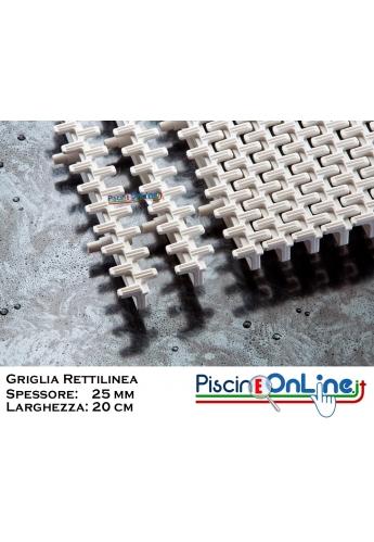 GRIGLIA RETTILINEA  Spessore 25 mm - Larghezza 20 cm - A NORMA   UNI-EN e FINA  Per Piscine Bordo Sfioro Pubbliche e Private