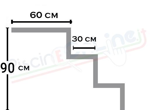 scala ad angolo curvo 3 gradini