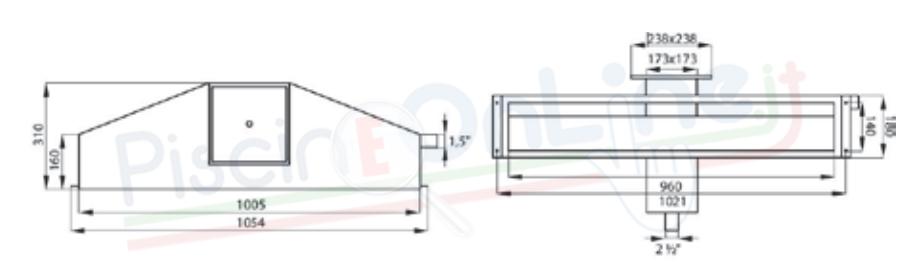skimmer sfioratore in acciaio inox aisi 316