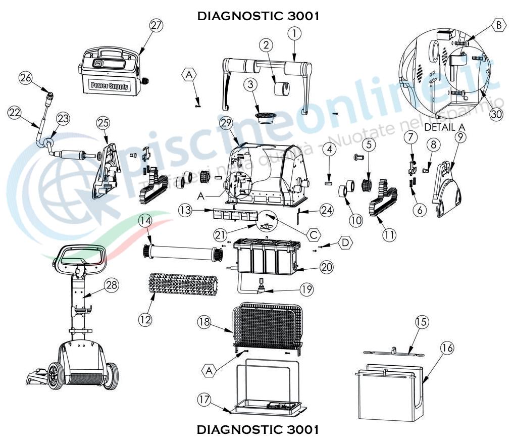RICAMBI PER ROBOT PISCINA DOLPHIN MAYTRONICS - MODELLO - DOLPHIN DIAGNOSTIC 3001