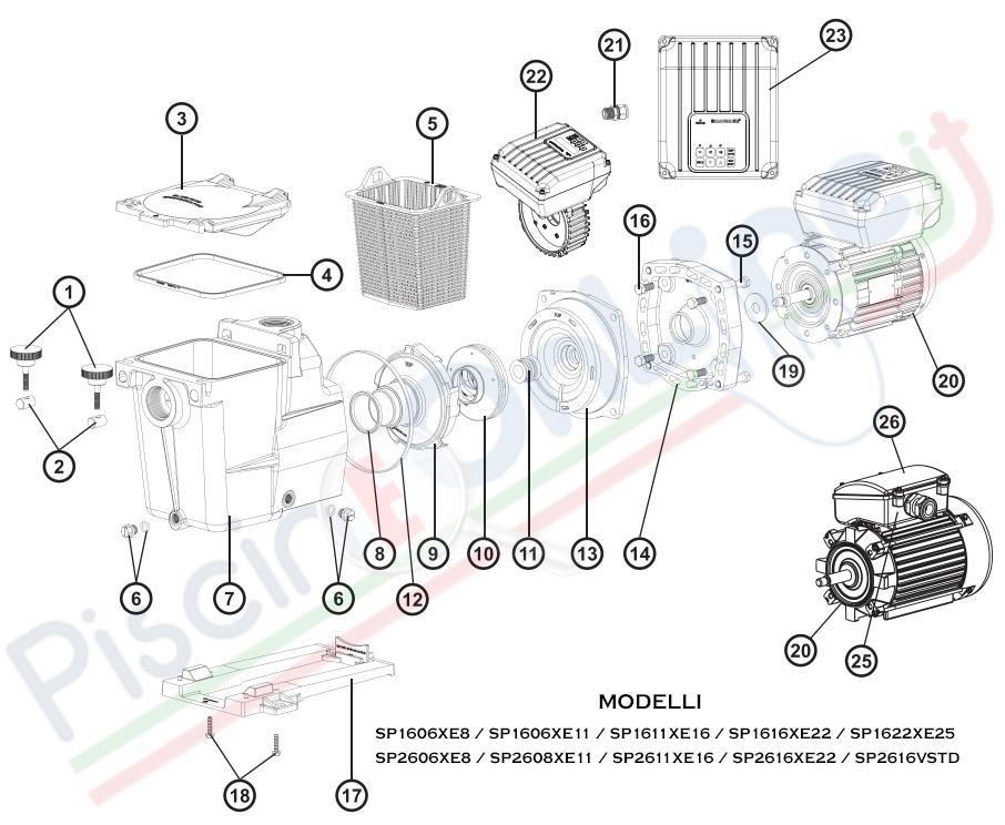 RICAMBI POMPA HAYWARD MAX FLO XL